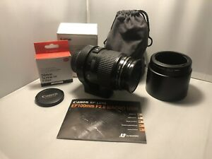 Canon EF 100mm f/2.0 USM Macro Lens with extras