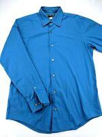 Banana Republic Large L Blue Shirt Stretch Classic Button Front Long Sleeve