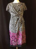 Ladies Womens Animal Floral Print Dresses Short Sleeve Pink Size