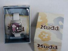 NEW Mudd PEACE SIGN WATCH White Hinged Cuff Bracelet Flowers Ladies Girls NIB!