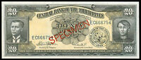 ENGLISH Issue 20 Pesos PHILIPPINES SPECIMEN Marcos-Licaros Banknote Papermoney