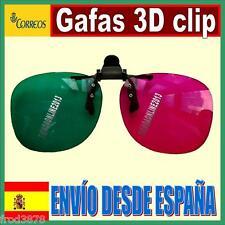 GAFAS 3D CLIP CINE JUEGOS VERDE MAGENTA TELEVISION PELICULAS