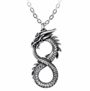 Alchemy England - Infinity Dragon Pendant Necklace, Gothic Serpent, Mythic Gift