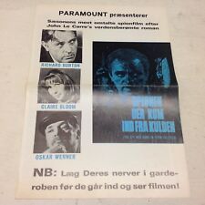 """The Spy Who Came in from the Cold"" Burton 1965 Danish Movie Press Release Kit"