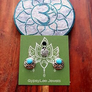 'Turquoise Cleopatra' Bohemian Earrings Sterling Silver by GypsyLee Jewels