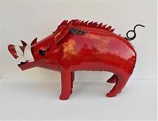 """YARD ART METAL RAZORBACK PIG SCULPTURE FIGURE 20"""" ANIMAL FIGURE ARKANSAS"""