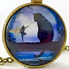 New Fairy and Black Cat Necklace Pendant  - Antique Brass bf