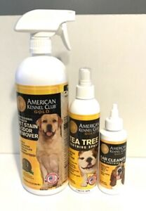 American Kennel Club Gold Lot Pet Stain Odor Remover Tea Tree Spray Ear Cleaner