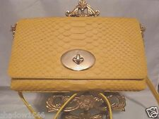 NWT COACH CROSSTOWN PYTHON EMBOSSED YELLOW LEATHER Crossbody Bag 53253