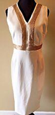 Boohoo Night White Ivory and Gold Sequin Tunic Lola Sheath Dress Size 12 NWT DS3