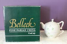 BELLEEK IRELAND HARP SHAMROCK TEA FOR ONE SET COMES IN ORIGNAL BOX