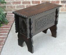 Antique English Oak Arts and Crafts Lift Top Foot Stool Bench Box Table PETITE