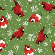 Fabric Bird Cardinals Red Christmas Garden on Green Cotton 1/4 yard