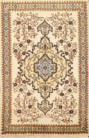IVORY Geometric Tebriz Handmade Area Rug Wool Traditional Oriental Carpet 2'x3'