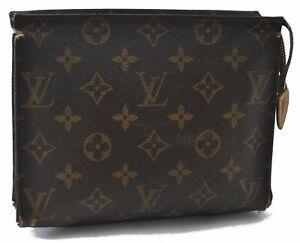 Authentic Louis Vuitton Monogram Poche Toilette 19 Cosmetics Pouch LV B4507