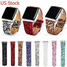 Glitter Christmas Bling Belt Strap for Apple Watch Series 3 2 1 Leather Band US