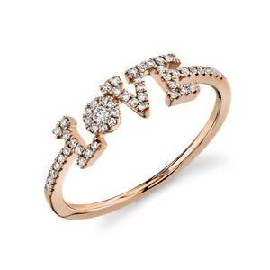 Diamond LOVE Ring 14K Rose Gold Women's Natural Round Cocktail Statement Size 7