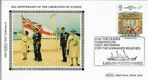 GB 1984 Benham Silk SHS Queen Embarks for the Normandy Beaches cover