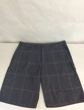 Oneill Mens Size 36 Polyester Blend Zipper Front Casual Shorts Gray Plaid