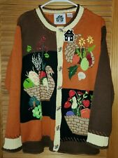 """NEW WITH TAGS! STORYBOOK KNITS """"UGLY"""" FALL AUTUMN HARVEST SWEATER- SIZE SMALL"""