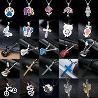 Men Women Stainless Steel Necklace Cross Guitar Animal Enamel Pendant Chain Gift