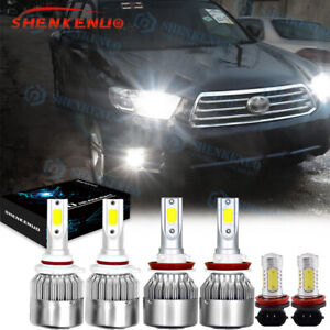 For Toyota Highlander 2011-2019 Combo LED Headlight High/Low Kit+Fog Light 6000K