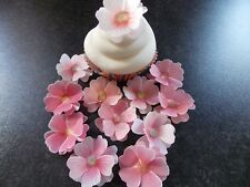 12 x 3D Edible Pink Mix flowers wafer/rice paper cake/cupcake toppers
