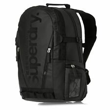 $150 SUPERDRY MENS BLACK TRAVEL BACKPACK WORK BAG GYM SCHOOL SHOULDER BOOKBAG