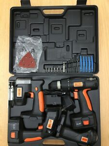 Challenge Power Tool Set; DRILL, SANDER, SAW, TORCH, 2 Batteries + 1 Charger