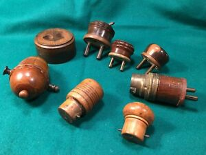Vintage Wooded Treen Electric Items Light Switch Plugs Socket Wood Adapter