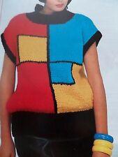"""Knitting Pattern Girls Women Slipover Jumper Sweater Chunky 28-38"""" Vintage"""