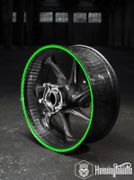 """Motorcycle Wheel Rim Tape Stickers Decals 10mm precurved 17"""" Fluo and Reflective"""
