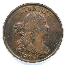 1804 C-8 ANACS VF 35 Details Spiked Chin Draped Bust Half Cent Coin 1/2c