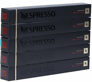 50 ORIGINAL NESPRESSO COFFEE CAPSULES PODS - RISTRETTO DECAFFEINATO Intensity:10