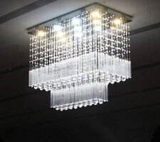 Modern LED crystal chandelier living room restaurant Rectangular Pendant light Y