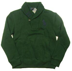 Polo Ralph Lauren Boys Green Big Pony Shawl Collar Fleece Lined Sweatshirt