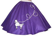 "Purple FELT 50s Poodle Skirt _ Adult Size LARGE _ Waist 35""- 42"" _ Length 25"""