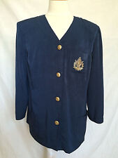 Joseph Ribkoff Vision Plus Womens Blazer Sz 14 Blue Long Sleeves Golden Buttons