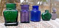 LOT OF 5 SMALL RANDOM BOTTLES EMERALD GREEN PURPLE COBALT BLUE DECORATIVE L@@K