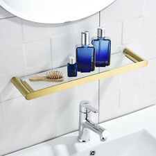 Glass 304 Stainless Steel Bathroom Accessories Organizer Brushed Gold Shelves