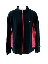 NIKE Womens Tracksuit Top Track Jacket XL Black Pink Cotton