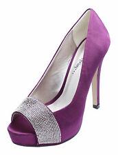 Señoras púrpura Raso Nupcial Novia Dama de honor Baile de graduación Puntera Abierta Boda Zapatos UK 3-8