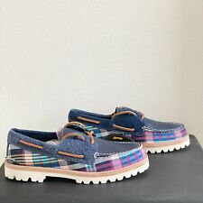 SPERRY THE CLOUD COLLECTION Top Sider Size 10 Plaid 3-Eye MADRAS Lug Boat Shoe