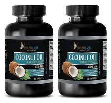 Coconut Oil Organic 3000mg Extra Virgin Weight Lose Heart 2 Bottles, 120 Pills