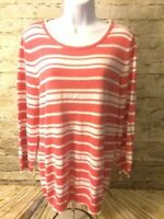 Basic Editions Womens Red Knit Long Sleeve Pullover Sweater Top Large [A413]