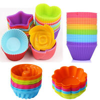 12x Soft Silicone Cake Muffin Chocolate Cupcake Bakeware Baking Cup Mold Mould