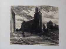 "dessin au fusain  Edouard J Dufeu , "" village1 "", 20,5x16,8 cms"