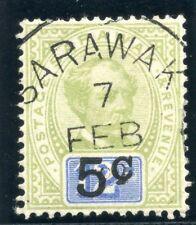 "Sarawak 1891 QV 5c on 12c green & blue (no sto after ""C"") VFU. SG 26a. Sc 24a."