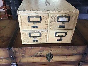 Vintage Oak 4 Drawer  File Card Cabinet.  354KK Marked On Bottom