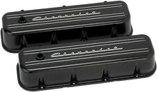 BILLET SPECIALTIES CHEVROLET SCRIPT BLACK ALUMINUM BBC TALL VALVE COVERS,CHEVY